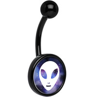 Black Titanium Galaxy White Alien Head Belly Ring | Body Candy Body Jewelry