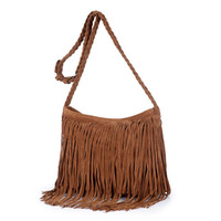 Brown Tassels Fringe Deco Shoulder Bag