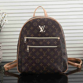 Louis Vuitton LV Women's Shopping Bag Backpack School Bag Fully Printed Letters Daypack