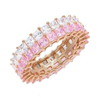 Pastel Double Row Princess Cut Ring