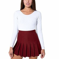 Womens Slim Thin High Waist Pleated Tennis Skirt