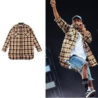 tartan clothing mens shirts fashion 2016 justin bieber Fear of god designer clothes fog flannel blue plaid men extended shirt