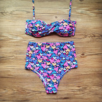 Summer Swimsuit New Arrival Beach Hot With Steel Wire Sexy Floral Swimwear High Waist Bikini [9871378639]