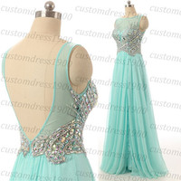 High Quality Handmade Crystal Beading Chiffon Long Evening Dress,Cap Sleeve Sexy V-Back Formal Evening Gowns/Prom Dress