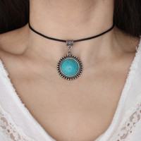 Leather Turquoise Stone Accent Choker