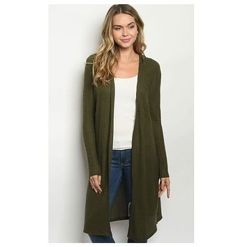 Cozy Long Olive Hooded Cardigan