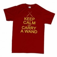 Keep Calm and Carry A Wand Funny Wizard Geekery Cult Humor T-Shirt