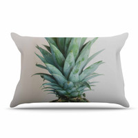 """Chelsea Victoria """" The Pineapple"""" Green Gold Pillow Case"""