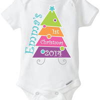 My First 1st Christmas Baby Onesuit Shirt - Personalized with child's name - 2014 - Green Orange Pink Purple Christmas Tree Cutomized Preemie