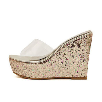 transparent clear crystal sequins platform wedge thick sole sandals high heels mules gold silver pink white beach shoes