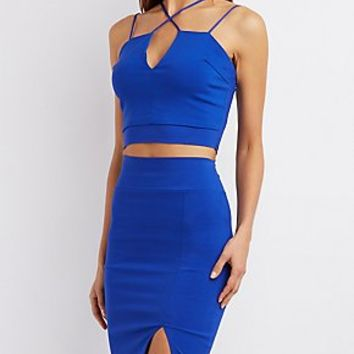 STRAPPY NOTCHED CROP TOP