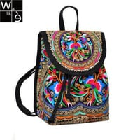 WALLIKE brand Lady New Embroidery Unique Nice School Bag Ethinic Travel Rucksack Shoulder Bags Women National Style Backpack