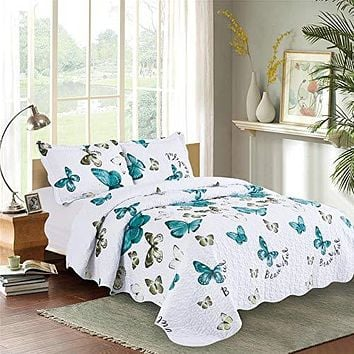 Kindred Home 3 Piece Quilt Set Butterfly Pattern Soft Microfiber Lightweight Coverlet Bedspread Summer Comforter Set Bed Cover Blanket for All Season