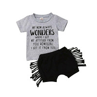 Pudcoco US Stock Newborn Toddler Baby Girl Clothes Print Letter Short Sleeve Shirt Tops Short