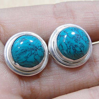 Turquoise & 925 Sterling Silver Overlay Stud Earrings 12mm.Gifts Under 10,20,30.Silver Studs Turquoise Earrings,UK Seller