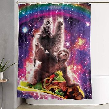 Techdecorhomee Shower Curtains Set with Hooks Space Cat Llama Sloth Riding Taco Soap Mildew Resistant Waterproof Antibacterial Polyester Decor Bathroom Curtain 6071inch/150180cm