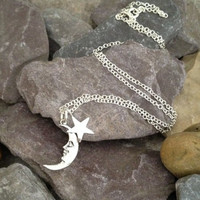 Sterling Silver Moon and Star Necklace Birthday Gift