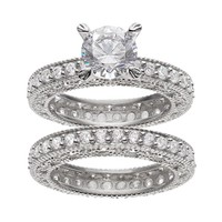 Cubic Zirconia Milgrain Engagement Ring Set in Platinum Over Silver (White)