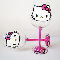 hello kitty wine glasses – pink stems – hand painted – 20oz