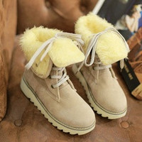 Christmas Sales Women Snow Boots Gladiator Lace Up Skidproof Rubber Sole Platform Winter Fur Shoes Warm Half Knee High Motorcycle Boots Big Size [7673387590]