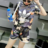 """Adidas"" Fashion Casual Clover Letter Multicolor Pattern Print Short Sleeve Set Two-Piece Sportswear"