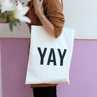YAY lined cotton tote bag