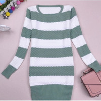 Lady Long Sleeve Stripe Sweater Pullover = 1830121348