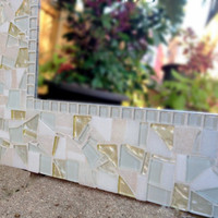 All White and Pale Yellow Mosaic Wall Mirror