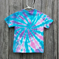Toddler Tie Dye T-Shirt, Size 2/4,  Turquoise, Purple and Pink Tie Dye Top, Toddler Shirt