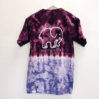 2016 Harajuku T-Shirts Women Animal Elephant Printed Casual short Sleeve Tops contrast color Tie Dye ivory Ella printing purple