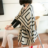Women's Geometric Pattern Double Faces Cardigan Coat Tops Knitted Outwear Shawl Cape F_F (Color: Black) = 1902372996