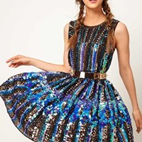 ASOS Skater Dress in Holographic Sequin at asos.com