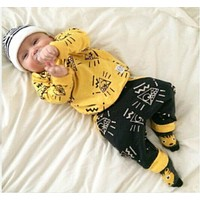 arrive baby clothes Fit spring baby boy yellow clothing sports clothes suit
