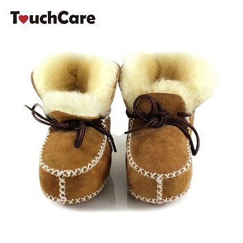 Baby Winter Sheepskin Fur First Walkers Infant Genuine Leather Boots born Boys Girls Real Wool Shoes Moccasins