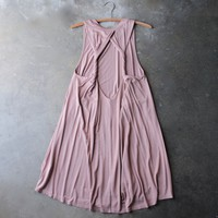 slouchy twist-back swing dress - dusty pink