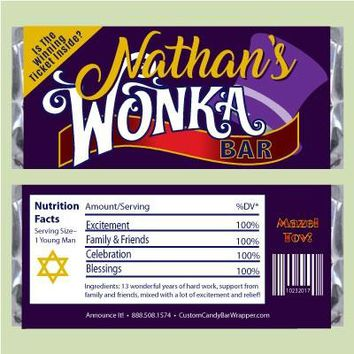 Willy Wonka Bar or Bat Mitzvah Candy Bar Wrappers