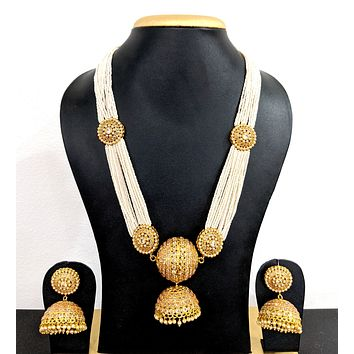 Unique Bold Ball Jhumka hanging Seed bead Necklace and Jhumka Earring set