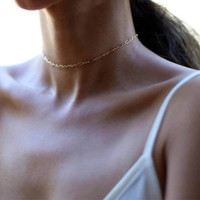 New Fashion Copper Dainty Halo Bar Chain Choker Necklace Women Charm Manual Chain Necklace   171213