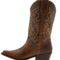 Shoes 18 Womens Faux Leather Western Cowboy Boots W/Traditional Embroidery (9, Cognac 6314 Tall)
