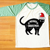 Merry Christmas T-Shirt Black Cat Shirt Meow T-Shirt Funny Animal T-Shirt Green Sleeve Women Shirt Men Shirt Unisex Shirt Baseball Tee S,M,L