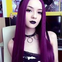 Long Popular Grape Purple Straight Synthetic Lace Front Wig