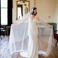 cathedral length veil in ivory tulle, Juliet cap style, 1930s veil.
