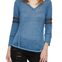 Knit Top with Striped Waffle-Knit Sleeves