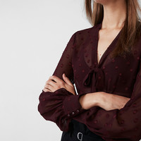 Fitted Tie Neck Medallion Shirt