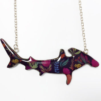 Shark Necklace - Hammerhead Shark Necklace / Great Hammerhead Shark Necklace Handmade by Honoloulou's - Autumn Florals
