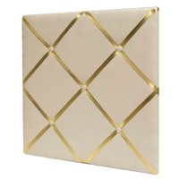 """White Linen Bulletin Board with Gold Straps 20""""x20"""" - Pillowfort™"""
