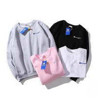 Champion men's sweater Europe and America popular logo round collar logo on the chest small embroidery and velvet lovers sweater