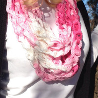 Breast Cancer Awareness Scarf, Tutu Crochet Infinity Chain Scarf, Pink and White Infinity Scarf