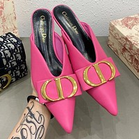DIOR New Fashion Women CD Letter Pointed High Heels Sandals Shoes