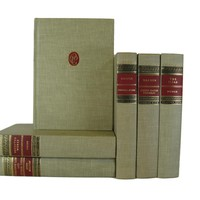 Old Vintage Books for Farmhouse Home Decor in Red and Oatmeal, S/6